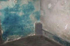 A perforated grid, protecting the outlet of a pipe leading from the gas containers (see bottled-gas.jpg in this page) into a gas chamber in Maidanek. Most probably, the grid was installed so the victims will not try to block the pipe's outlet.